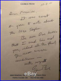 PRESIDENT GEORGE H. W. BUSH Signed Hand Written Letter PSA/DNA Certified Encased