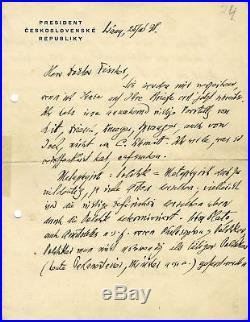 PRESIDENT OF CZECHOSLOVAKIA Tomas Masaryk autograph, handwritten letter signed