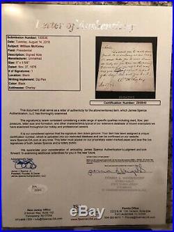 PRESIDENT WILLIAM MCKINLEY Hand Written SIGNED Letter JSA Certified PSA Encased
