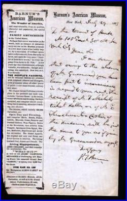 P T Barnum Circus King 1863 RARE Hand Written Letter on EX RARE Letterhead