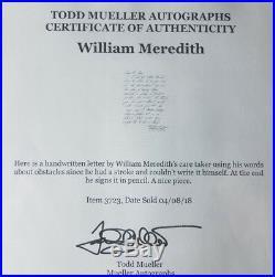 Poet Laureate William Meredith Hand Written Letter Todd Mueller COA