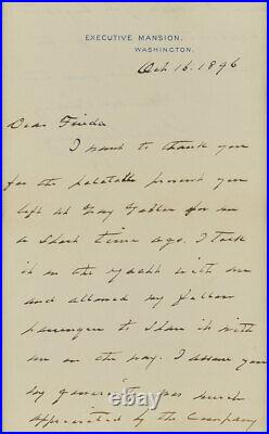 Pres. GROVER CLEVELAND Hand Written & Signed Letter Executive Mansion 1896 (PSA)