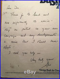 President George W Bush handwritten & signed letter-Bush 78 Campaign Letterhead