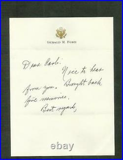 President Gerald R. Ford Hand Written Letter Autograph to Dallas MN Reporter