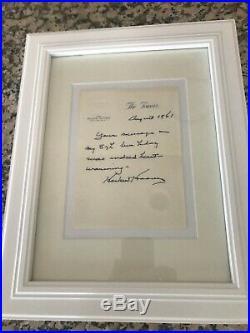 President Herbert Hoover handwritten letter with signature 1961- Rare