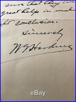 President Warren Harding Hand Written Signed Letter To Benjamin Harrison