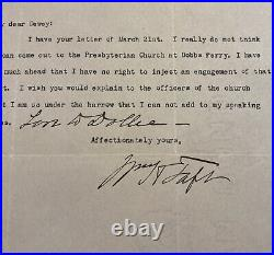 President William H. Taft 1919 Typed Letter Signed Handwritten Addition