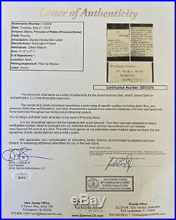 Princess Diana Handwritten 2 Page Letter 11/22/1991. Jsa Coa