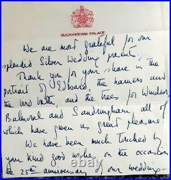 Queen Elizabeth Hand Written Letter In Ink