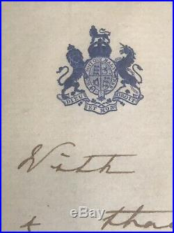 Queen Of England Hand Written Letter & Signature RARE In Frame