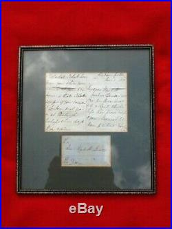Queen Victoria, 1850, two sided hand written letter and envelope, in frame