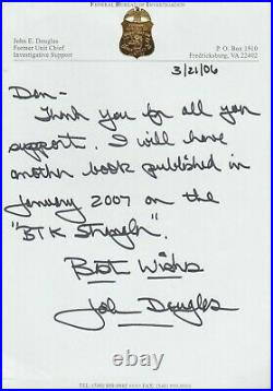 RARE! First Criminal Profiler John E. Douglas Hand Written Letter