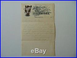 RARE! H McKenna Distillery Mary McKenna Hand Written Letter on Letterhead COA