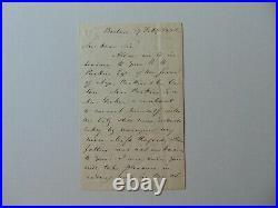 RARE! House Speaker Robert Charles Winthrop Hand Written Letter Dated 1852 COA