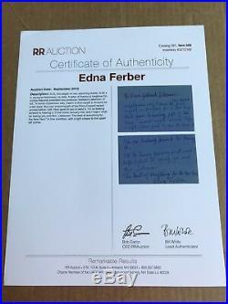 RARE! Novelist Edna Ferber HANDWRITTEN & SIGNED ALS Letter- R&R Auction COA