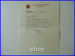 RARE! The Lincoln Library Paul Wilstach Hand Written Letter Todd Mueller COA