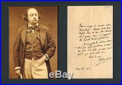 REALISM NOVELIST Gustave Flaubert autograph, handwritten letter signed & mounted