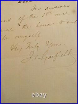 REDUCED President James A. Garfield handwritten letter dated 1/26/1880