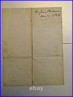 REDUCED! President James Buchanan handwritten signed personal letter 12/17/1866