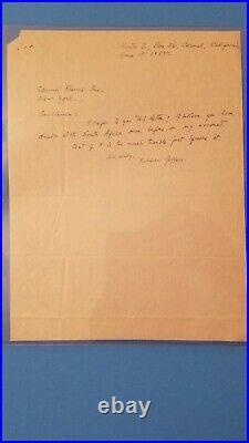 ROBINSON JEFFERS American Poet Handwritten Letter Signed 1955