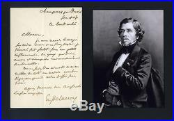 ROMANTIC ARTIST Eugène Delacroix autograph, handwritten letter signed & mounted