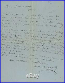 RUSSIAN ARTIST Marc Chagall ART autograph, handwritten letter signed & mounted