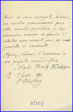 RUSSIAN COMPOSER Nikolai Rimsky-Korsakov autograph, handwritten letter signed