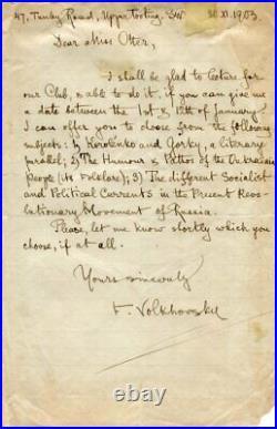 RUSSIAN REVOLUTIONARY Feliks Volkhovsky autograph, handwritten letter signed