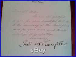 Rare Hand Written Vintage Letter Signed by John D. Rockefeller Sr