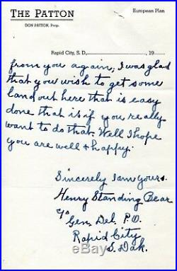 Rare Lakota Chief Henry Standing Bear 1874-1953 Hand Written Letter