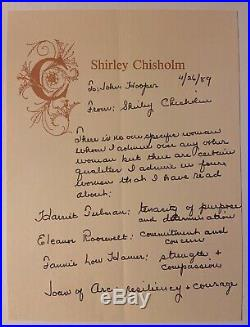Rare Shirley Chisholm Hand Written Letter About The Women She Admited Most