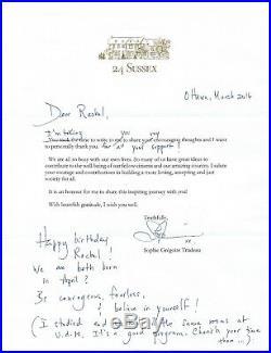 Rare Sophie Gregoire Trudeau Signed Inspirational Handwritten Letter Coa
