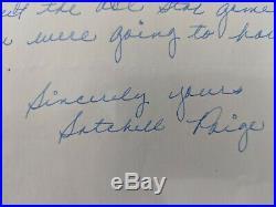 Rare Vintage Handwritten Satchel Paige Letter with Autograph Signature HOF