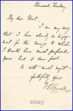 Renowned, James Russell Lowell Handwritten & Signed Letter, No Date,'Apology