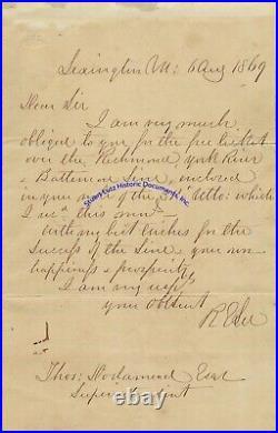 Robert E Lee handwritten letter thanking Virginia RR president for free pass