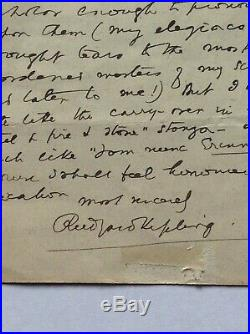 Rudyard Kipling. Autograph Handwritten, Signed Letter. AFTAL Dealer