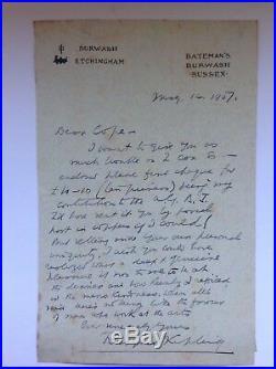 Rudyard Kipling. Handwritten Letter. AFTAL DEALER