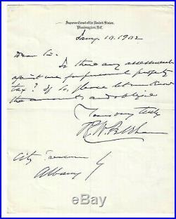 Rufus W. Peckham Handwritten Letter Signed / Supreme Court Autographed 1902
