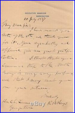Rutherford B. Hayes handwritten signed letter a few months into his presidency