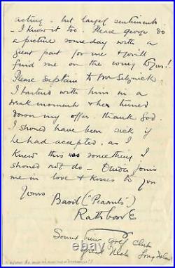 SHERLOCK HOLMES Basil Rathbone autograph, handwritten letter signed & mounted