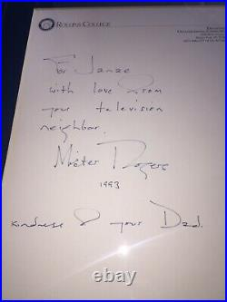 SIGNED Rare MISTER ROGERS Handwritten Personal Autographed Letter Framed Fred