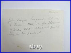 SIGNED by artist JOHN SINGER SARGENT 1898 Hand Written Personal Letter ORIGINAL
