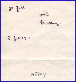 SWEDISH NOVELIST August Strindberg autograph, handwritten letter signed