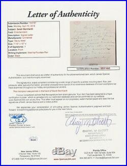Sarah Bernhardt Hand Written Letter Signed Autograph Jsa & R&r Loa
