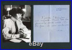 Sidonie-Gabrielle Colette autograph, handwritten letter signed
