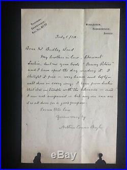 Sir Arthur Conan Doyle. Autograph. Signed handwritten letter. AFTAL DEALER