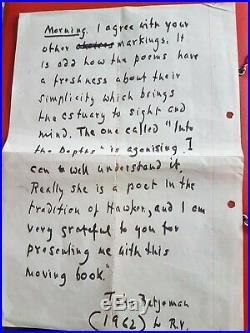 Sir John Betjeman. Original Handwritten Letter