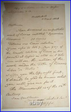 Sir Thomas Phillipps (1792-1872) SIGNED, original hand-written letter, 1828