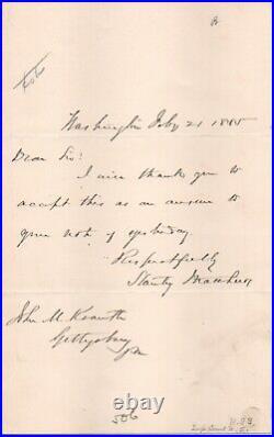 Stanley Matthews, Supreme Court Justice handwritten letter