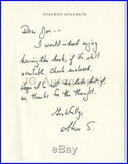 Stephen Sondheim Musical Theatre Autographed Hand-Written Letter (ALS)